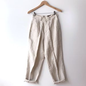 Vintage Eddie Bauer High Waist Pleated Linen Pants